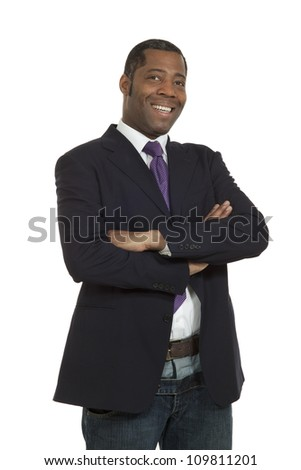 Portrait african man on white background