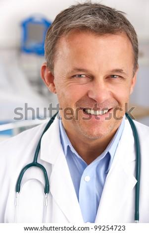 Portrait American doctor on hospital ward