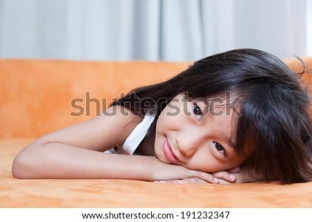 portrait asia girl.black long hair.smiling active.