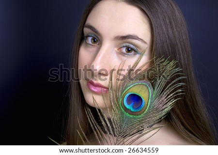 peacock. portrait. pretty hairstyle. horizontal. individuality