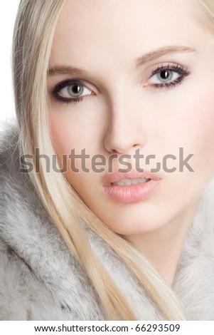 Portrait beautiful girl wearing white fur #66293509