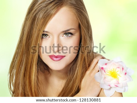 Portrait Beautiful girl with flower.