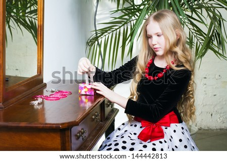 Portrait beautiful girl with long blond hair #144442813