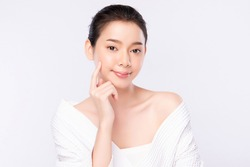 Portrait beautiful young asian woman clean fresh bare skin concept. Asian girl beauty face skincare and health wellness, Facial treatment, Perfect skin, Natural makeup, on white background.