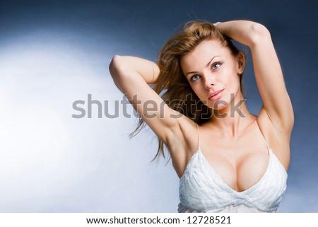 Portrait beautiful young woman enjoying the wind