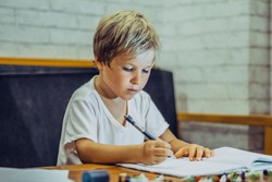 Portrait blond cute Preschool boy holding pen notebook look serious hard diligently diligently learn write, facial expressions gestures. Children behaviour education problems, home school concept