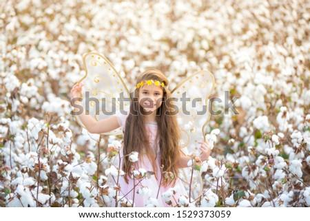 Portrait Brunett Girl Cotton Field #1529373059