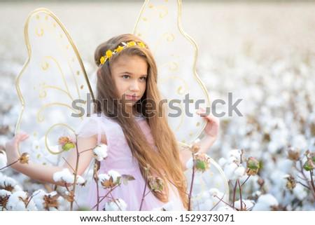 Portrait Brunett Girl Cotton Field #1529373071