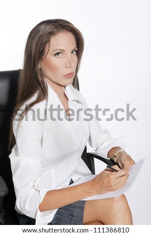 Portrait business woman, sitting on chair,holding document,  isolated on white background