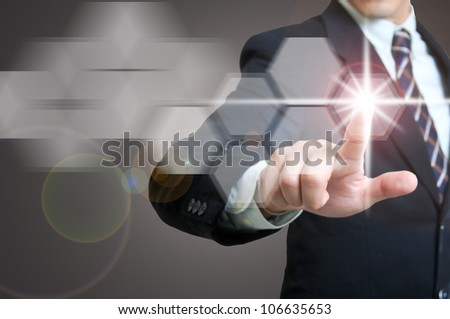 Portrait businessman with touch icon concept