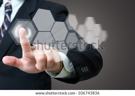Portrait businessman with touch icon concept - stock photo