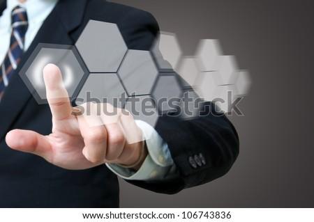Portrait businessman with touch icon concept