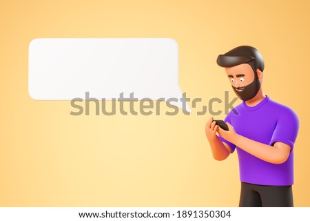 Portrait cartoon character beard man in glasses and purple tshirt typing at smartphone over yellow background with white text box message cloud. 3d render illustration