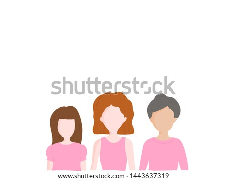 Portrait cartoon of 3 diverse group of women from young, adult to senior older wearing pink shirt. Positive and strong for breast cancer awareness month in october with copyspace for advertising.