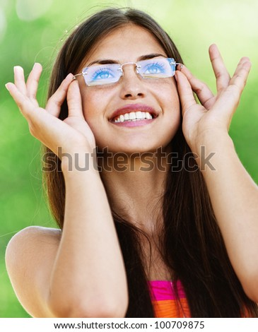 portrait charming young woman glasses smiling background summer nature