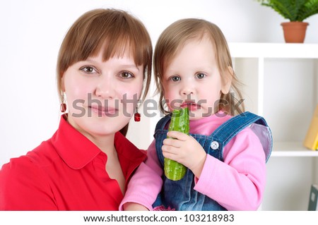 portrait cheerful child with mother, smile and happy