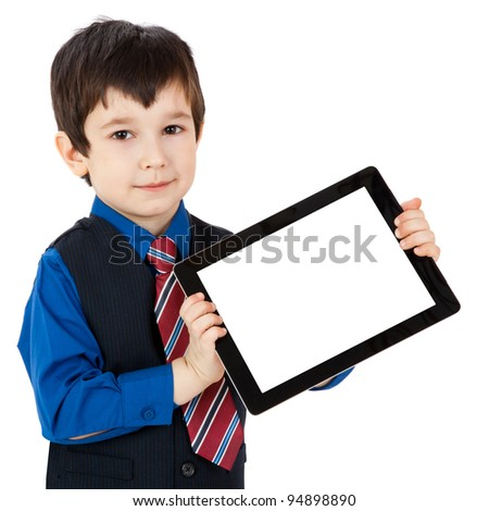 Portrait child with digital tablet on white background