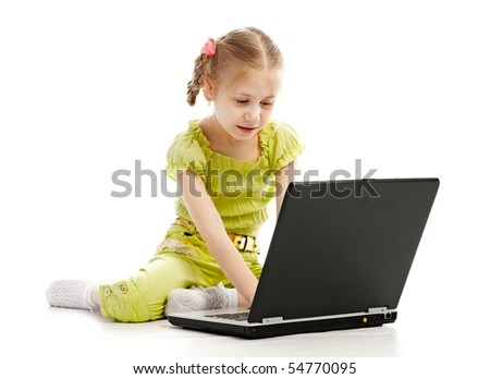 portrait child with laptop isolated on white background