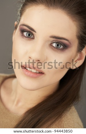 Portrait close up face of young woman