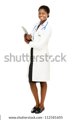 Portrait confident African American female doctor full length isolated on white background