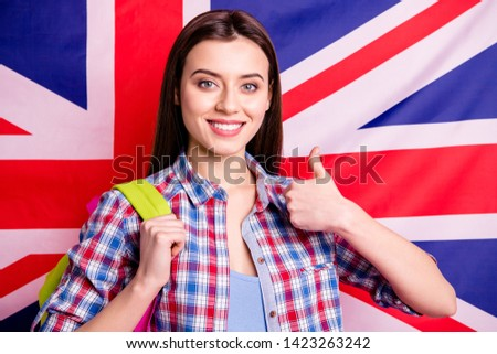 Portrait confident beautiful advice grants nice high school teen teenager advertise excellent adverts choose decide advise recommend program stylish trendy shirt checkered isolated pink background