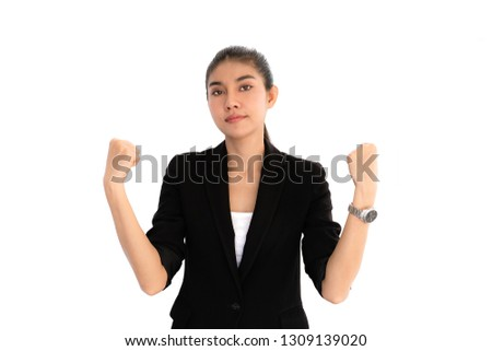 Portrait Confident Business woman in white isolated background. Confidence and Successful concept for advertising.