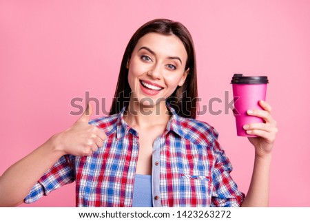 Portrait cute funny nice pretty youth people person beverage advertise mug decision adverts present promotion promo promoter cheerful positive  tip pick look checked shirt isolated pink background