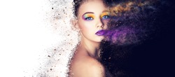 portrait fashion model woman creative make up, studio photo