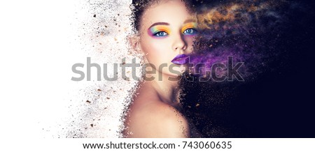 portrait fashion model woman creative make up, studio photo #743060635