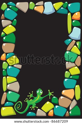 portrait frame with colored stones and lizard. Raster version