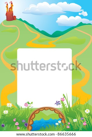 Portrait frame with fairy tale castle and beautiful country side landscape. Raster version