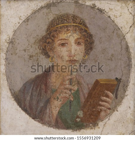 Portrait (fresco) of Sappho, Archaic Greek poet from Lesbos.