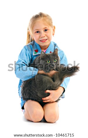 portrait girlie with cat on white background