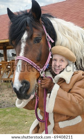 portrait grandmother and horse; outdoor