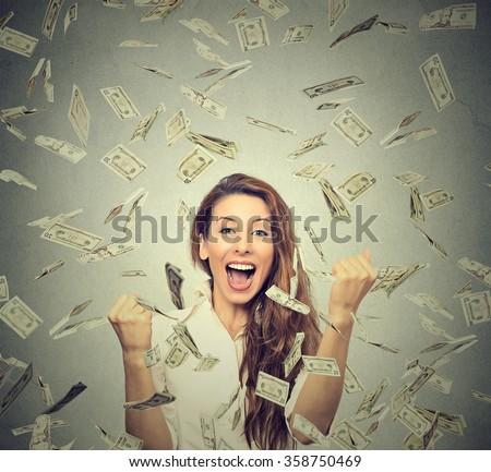 portrait happy woman exults...