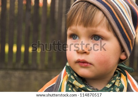 Portrait if the little boy wearing knitted cap, made in the fall in the garden