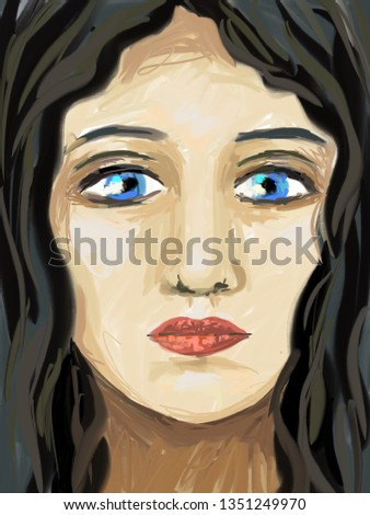 Stock Photo Portrait illustration of beautiful, attractive woman with blue eyes and dark hair