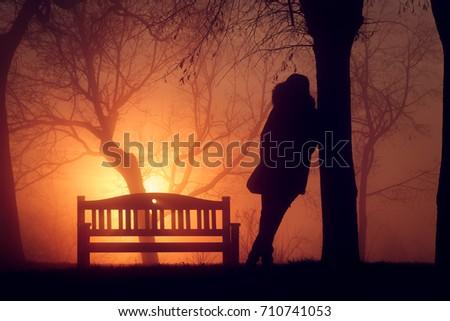 Portrait in a winter sunset. Stock fotó ©