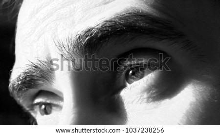 Portrait in black and white of self head and eyes, with multiple expressions.