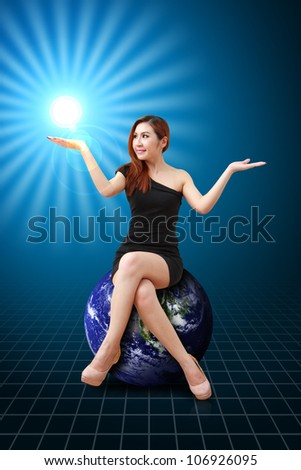 Portrait lady on the earth : Elements of this image furnished by NASA