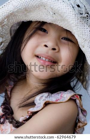 Portrait little asia girl agape