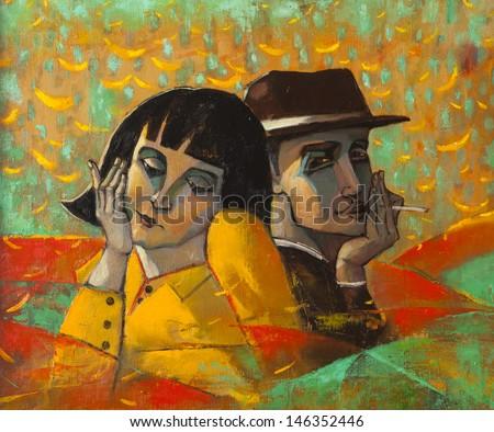Portrait lovers, original oil painting on canvas