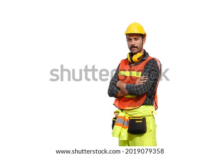 portrait man engineering wear uniform and safety helmet isolated on white background. Foreman controls loading containers. clipping path. ストックフォト ©