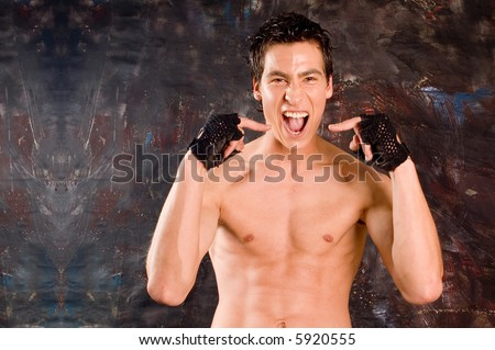 Portrait man with expressive face making scream