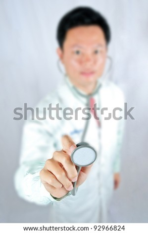 Portrait medical doctor with white background. Checking your healthy