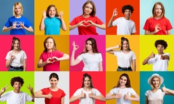 Portrait mosaic. Positive gesture collage. Group of enthusiastic supportive diverse multiethnic people in colorful t-shirts showing different encouraging emotions isolated on bright background.