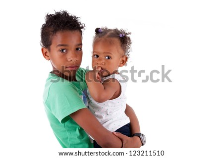 Portrait of a African American brother and sister, isolated on white background