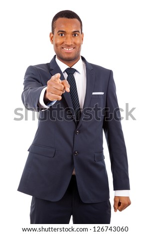 Portrait of a African American businessman pointing, isolated on white background