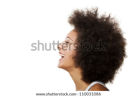 Portrait of a african american woman laughing, isolated on white background