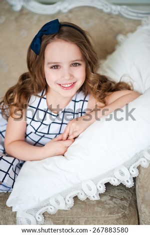 Portrait of a baby on a pillow